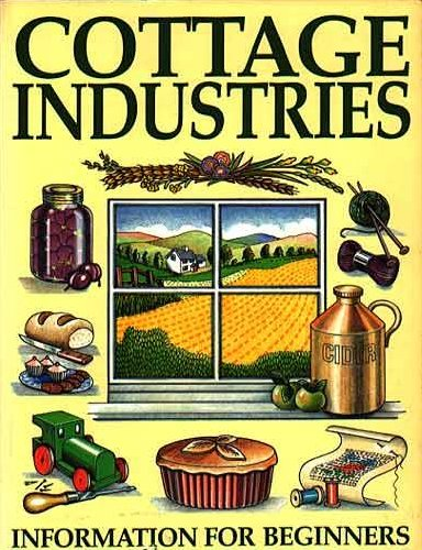 cottage industries Some types of cottage industries, in which a small number of individuals work from their homes, include textile and clothing production, food production, rope making, candy making, watch making.